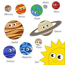 cute solar sistem planet collection coloring book