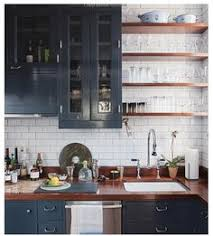 Dark Base Cabinets White Top Cabinets Open Wood Shelves And Big - Navy kitchen cabinets