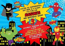 party invitation cards superhero birthday party invitations