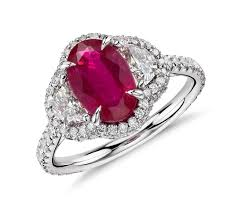 ruby bands rings images Ruby and half moon diamond halo ring in platinum and 18k yellow
