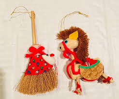 vintage ornaments broom with mouse and corn husk
