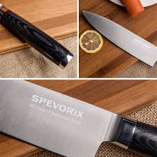 spevorix chef s knife professional 8 inch high carbon stainless chef knife if you are not satisfied or have any problems with it just contact us for a full refund or replacement we will handle it within 24 hours
