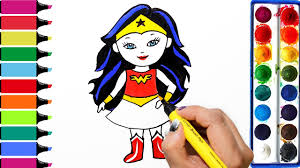 draw color paint wonder woman coloring pages and learn colors for