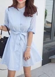 summer dress bow cotton striped shirt buttons korean style woman u0027s