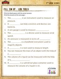 fill u0027em up u2013 lab tools u2013 science worksheet for 4th grade online