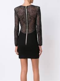 balmain shoes cheap black paisley lace fitted dress from balmain