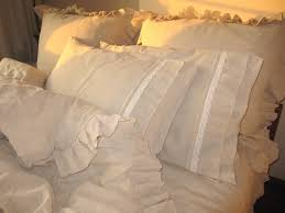 camel beige linen ruffle sham bedding queen king duvet cover
