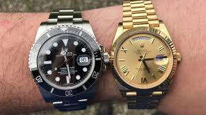 rolex steel vs gold weight difference day date and submariner