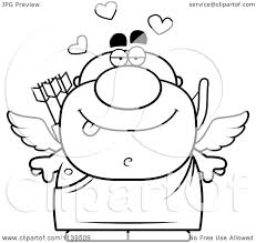 cartoon clipart of a black and white valentines day cupid vector