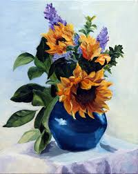 Acrylic Flower Vases Painting Sunflowers In A Blue Vase By Kitty Moore Cupertino Youtube