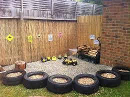 backyard play area with tire border