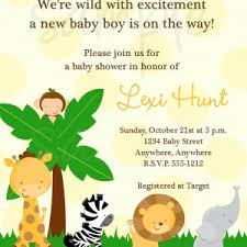 funny baby boy shower invitation safari with brown paper