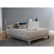 Gray Platform Bed Motif Design Greek Key Metal Headboard And Aura Gray Platform Bed