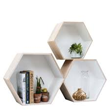 Wooden Box Shelves by Set Of 3 Hexagon Box Shelves Home Accessories House U0026 Home