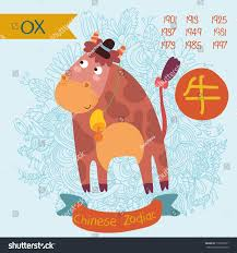 cute chinese zodiac sign ox vector stock vector 173229371