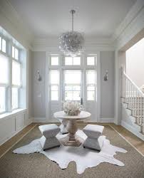 Oly Chandelier White And Gray Cottage Foyer With Center Table And Oly