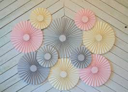 paper fans decorations pink grey and set of 10 ten paper fans rosettes