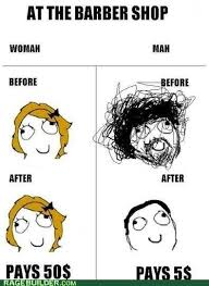 Men And Women Memes - difference between men and women at the barber shop see more meme