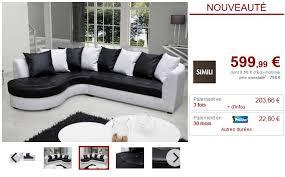 canap d angle vente unique canapé d angle gauche en simili noir blanc octavia canapé vente