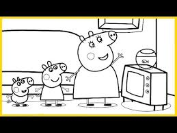 peppa pig mummy pig george pig goldie fish coloring