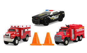 tonka fire rescue truck tonka diecast 3 pack emergency responders vehicles toys
