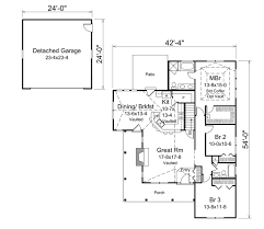 Detached Garage Floor Plans by Cottage Style House Plan 3 Beds 2 00 Baths 1582 Sq Ft Plan 57 618
