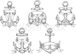 sketches of vintage marine anchors wrapped by ribbons with forked