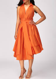 orange dress high waist asymmetric hem layered orange dress modlily usd