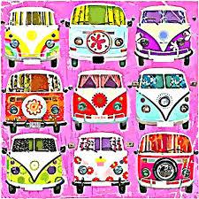 van volkswagen pink multi volkswagen camper van design flip flops from my original art