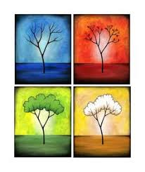 four seasons print set watercolor trees on etsy 45 00 home