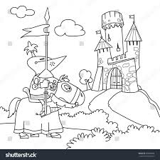 wandering knight horse castle stock vector 589888988