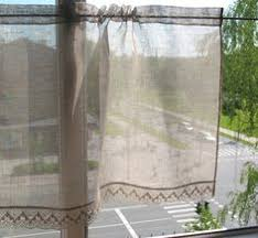 Gray Cafe Curtains White Linen Curtain With Lace Edge Trim Bathroom Window Linen