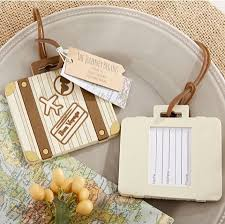 luggage tag favors let the journey begin vintage suitcase luggage tag