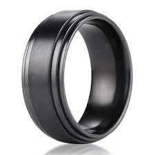 black titanium mens wedding bands 8mm benchmark black titanium men s wedding ring with step