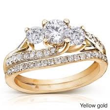 yellow gold wedding ring sets 1 carat trilogy wedding ring set in yellow gold