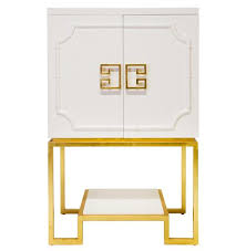 Gold Bar Cabinet Bombay Regency Winter White Lacquer Gold Bar Cabinet