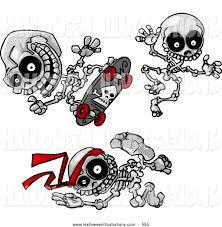 Halloween Skeleton Clip Art Halloween Clip Art Of A Trio Of Skeletons Skateboarding Jumping