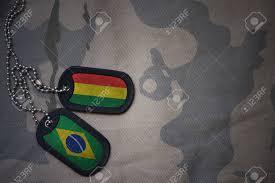 Blank Brazil Flag Army Blank Dog Tag With Flag Of Bolivia And Brazil On The Khaki