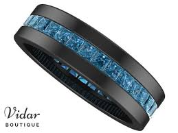 black gold mens wedding band unique black gold blue diamond mens wedding ring vidar boutique