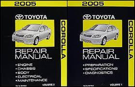2005 toyota manual 2005 toyota corolla repair shop manual original 2 volume set