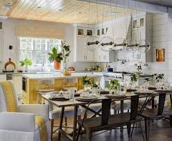 Yellow Kitchen With White Cabinets - yellow kitchen island with white cabinets cottage kitchen