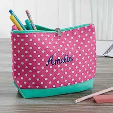 pencil cases personalized pencil pink polka dot