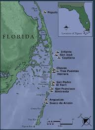 florida shipwrecks map 1733 galleon trail locations of the 1733 plate