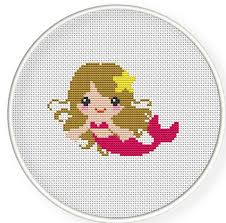 counted cross stitch pattern cross stitch pdf pink mermaid