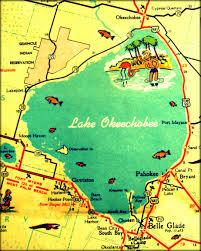 Google Florida Map by Retro Florida Map Print Lake Okeechobee Map Vintage Florida Art