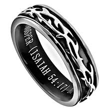bible verse rings crown of thorns isaiah 54 17 bible verse ring stainless steel