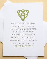 thank you for sympathy card thank you sympathy cards with a green celtic knot