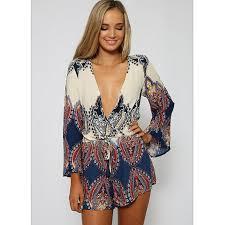 hippie jumpsuit boho hippie sleeve floral v jumpsuit rompers