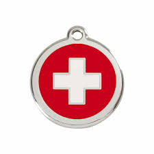 White Cross On Red Flag Swiss Cross Flag Pet Dog Cat Id Tag Personalised Engraved Steel