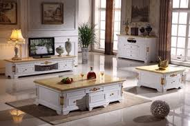 online shop white wooden living room set coffee table end table tv